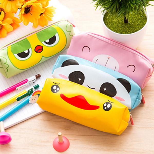 Wholesale- Cute Cartoon PU leather Pencil Case Kawaii School Pencil Box Duck Owl Panda Bear Zipper Animals Stationery Pen Bag For Kids