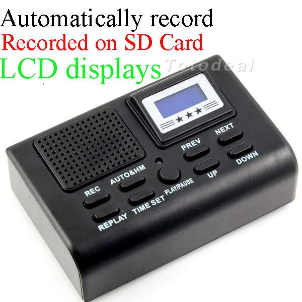 Wholesale-Mini Telephone Digital Voice Recorder Telephone Logger / Telephone Voice Monitor Blue LCD display With Clock function