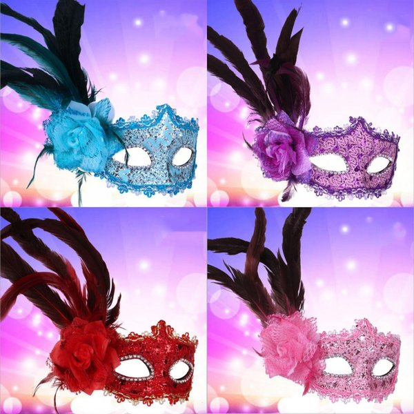 Women High-grade Side Rose Venetian Masks Masquerade Mask Halloween Feather Carnival Masks Birtyday Graduation Party Performance Face Masks