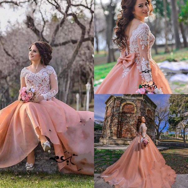 Discount Elegant Wedding Dress Sweep Train V Neck Aline Bridal ...