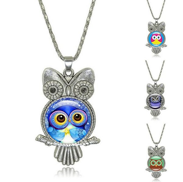 Brand new New jewelry gemstone necklace cute cartoon owl necklace sweater chain WFN375 (with chain) mix order 20 pieces a lot