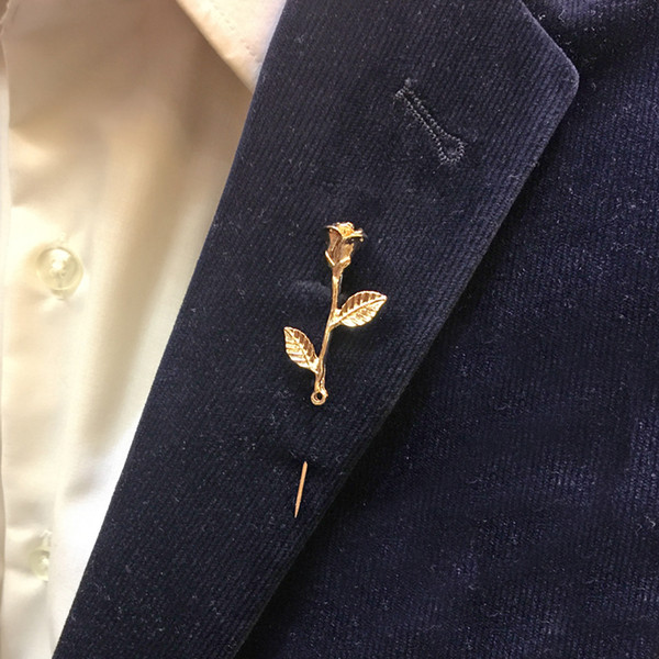 2019 Unisex Rose Flower Brooch Pin Men Suit Accessories Classic Lapel Pins  For Men\u0027S Suit Wedding Party Long Pin From Douzhang, $16.96