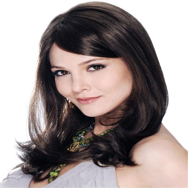 Full Lace Wigs mongolian frontal Full Lace Human Hair Wig Senior silk Long Wavy Brazilian Virgin Hair 100% With Bangs For women Color 1 B#