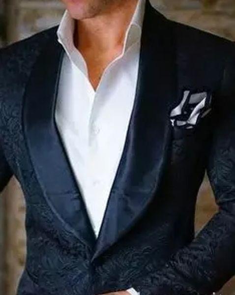 2018 Negro para hombre Floral Blazer diseños para hombre de Paisley Blazer Slim Fit traje chaqueta hombres de la boda Tuxedos moda para hombre trajes (chaqueta + pantalón)