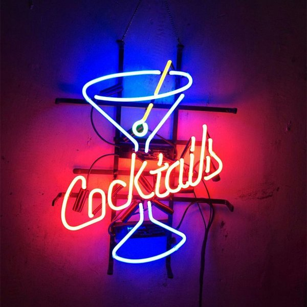 "17""x14"" Cocktails Beach Neon Sign Bar Wall Display Tavern CUSTOM REAL GLASS TUBE LIGHT BEER BAR PUB CLUB STORE DISPLAY SIGN SIGNAGE"