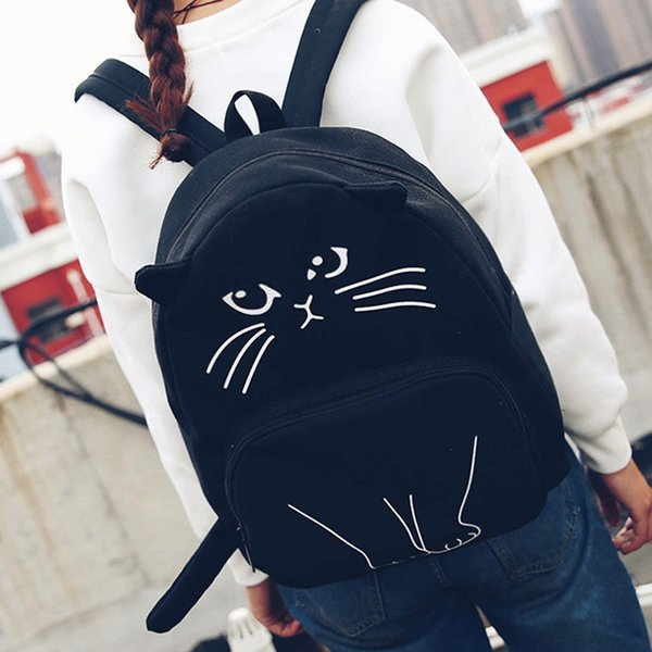 2018New Women Canvas Backpack Lovely Cat Printing Backpack Cute Cartoon Cat Printing Backpack School Bag For Teenage Girls