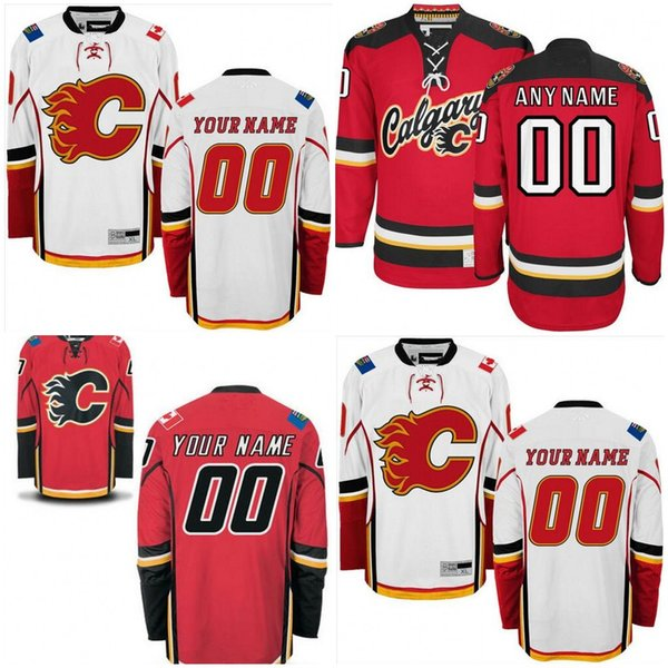 cb0df2ca6 ... Mens Custom Calgary Flames Personalized Home Red Away Alternate Jerseys  Youths Womens Flames Customized Red White ...