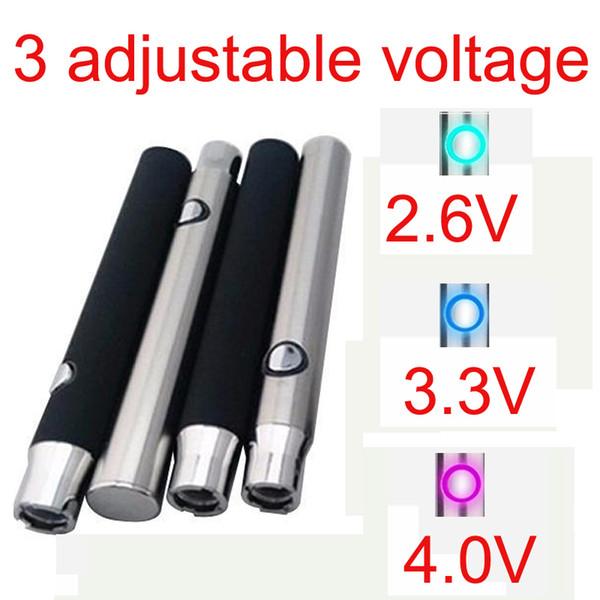 Tensão ajustável 4.1-3.9-3.7 V O caneta Vaporizador de Óleo 350Mah espessura Pré-aquecimento Bateria Dispositivo de Fumar 510 Pen Vs Bud Toque Bateria