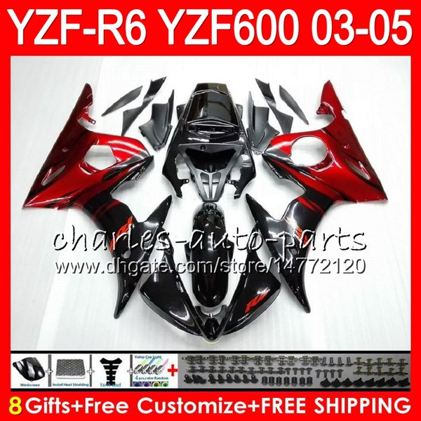 8Gifts 23Colors Body For YAMAHA YZF600 YZFR6 03 04 05 YZF-R600 56HM3 red flames YZF R 6 YZF 600 YZF-R6 YZF R6 2003 2004 2005 Fairing kit