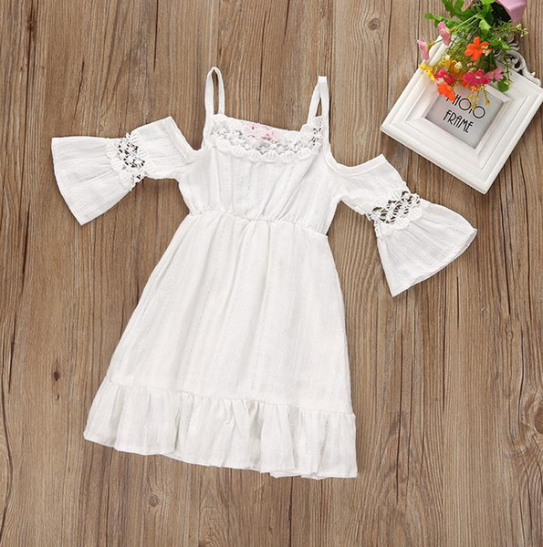 Compre 2017 Summer Baby Girls Dress Off Shoulder Ruffles Cotton Linen Lace Princess Dress Niños Vestidos Casuales Blancos 3091 A 1136 Del Spinach18