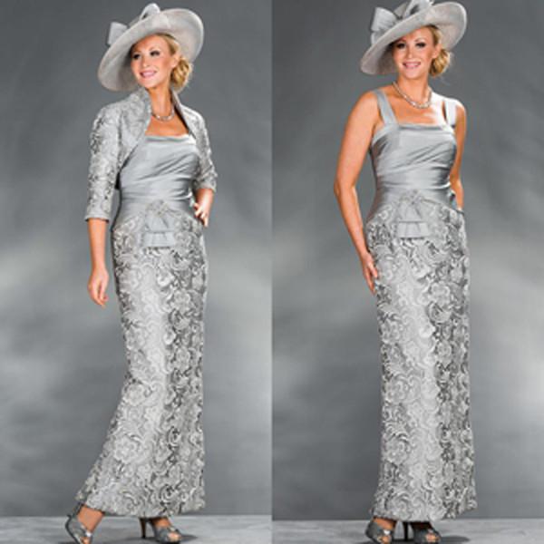New Silver Lace Cinza Bainha da Mãe Vestidos de Tafetá com 3/4 Mangas Compridas Jaqueta de Tornozelo-Comprimento 2017 Mulheres Vestidos de Festa