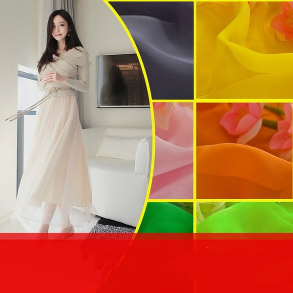 High quality Lightweight Sheer Chiffon Material Summer Garment Dress Fabric Solid Color Width 150cm 17 color in stock