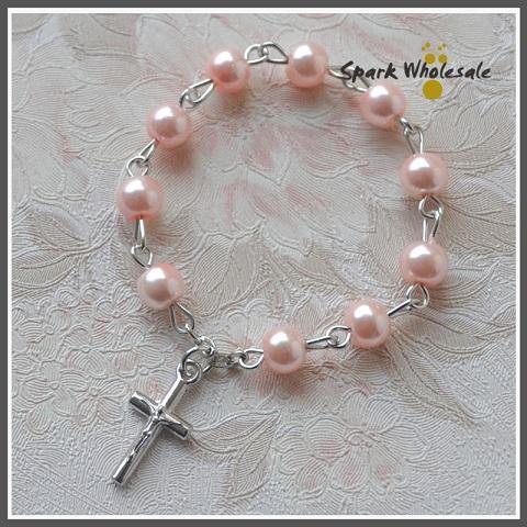 25pcs/lot Catholic Baptism Favors Pink Glass Pearl Finger Rosary Religious Mini Rosary Ring Girl's Communion Favors Cross Finger Rings