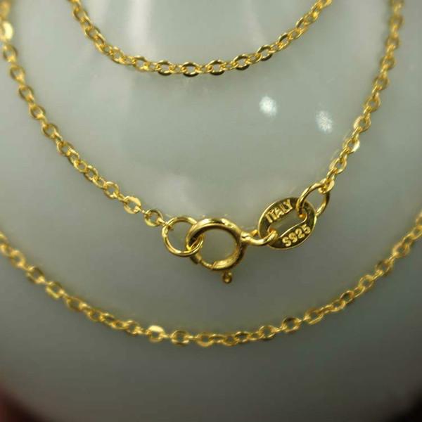 Moda Macizo S925 collar de oro chapado en plata de ley se enamoran para Mujer