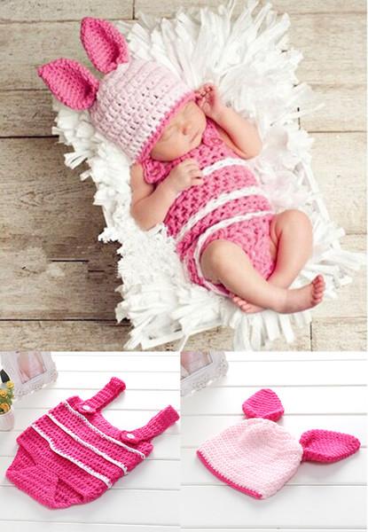 Bebé accesorios de fotografía Niño recién nacido y niña traje de ganchillo Infantil que viene a casa Foto Muñeca Accesorios Lindo juego de cerdo Costume niños Accesorios