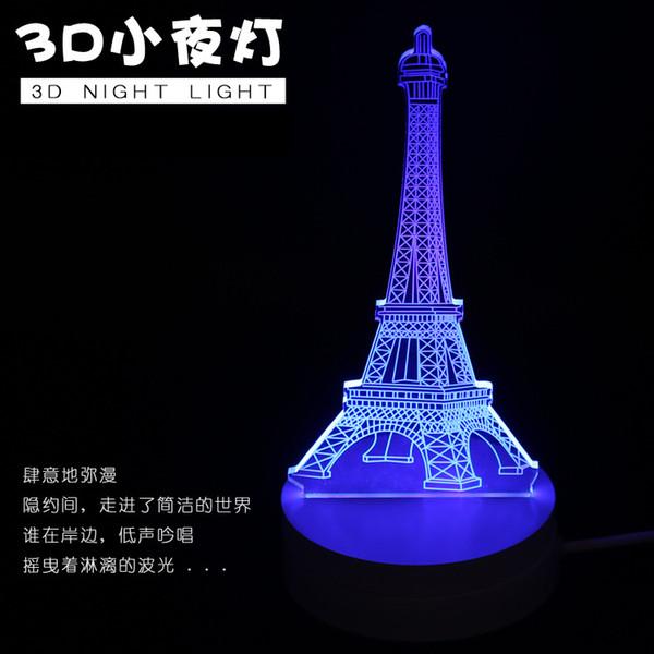 Estranho novo criativo 3D luz LED lâmpada USB lâmpada romântica presente do Dia dos Namorados 3D visão estéreo