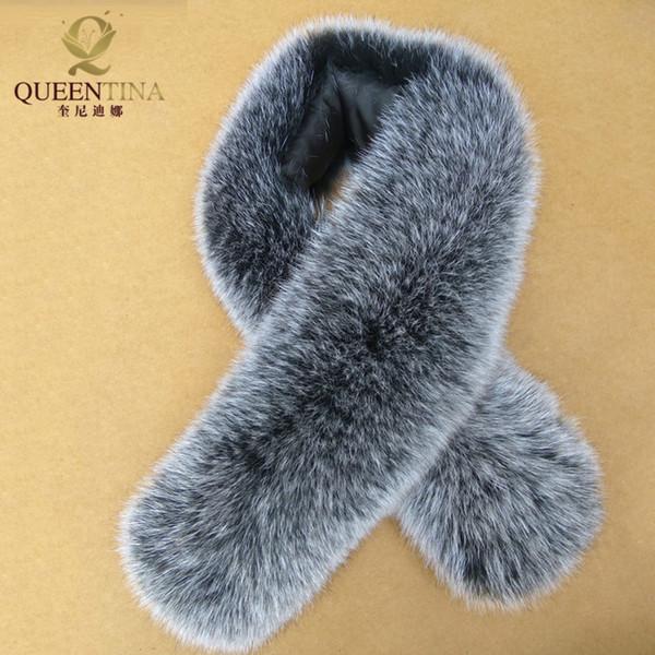 Großhandels- Neuer 100% echter Fox-Pelz-Kragen 80cm langer Fuchspelz-quadratischer Kragen-Ring-Schal-Frauen Echte natürliche Fox-Pelz-Schals Kragen-Zusatz