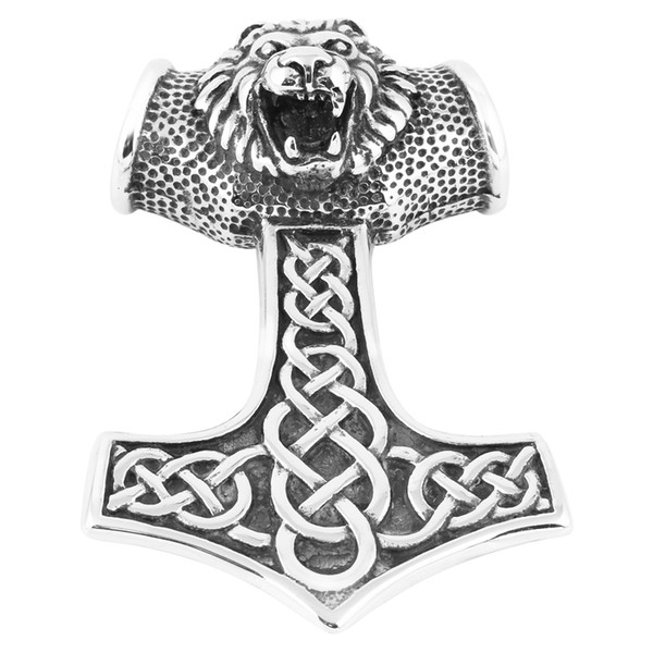 Men's Large Stainless Steel Pendant Necklace Silver Black Lion Thors Hammer Amulet Mythical Biker -with 21 inch Chain