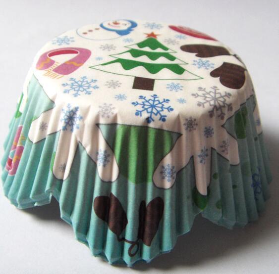 Atacado-em promoção 100 pcs árvore de natal papel bolo cup cupcake forro de papel assando cup muffin case bolo wrapper para festa de natal