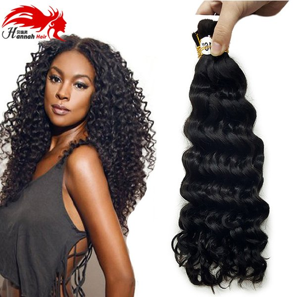 top popular Afro Deep Curly Bulk Hair For Braiding 3Pcs Lot 150g Virgin Human Hair Afro Deep Curly Hair Bulk Extensions Without Weft 2019