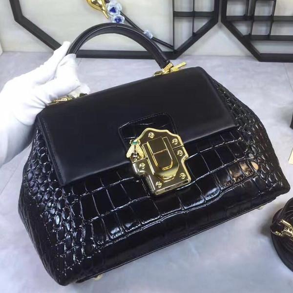 2017 New Black Crocodile Leather 26CM women fashion handbag shoulder bag leather handbag