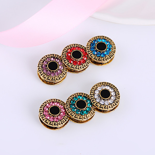 Wholesale- 12pcs/lot mix color classic round magnet brooch hijab accessories muslim pin hijab scarf buckle magnet hijab brooch