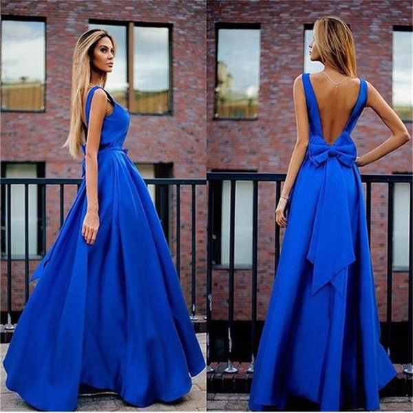 Royal Blue Party Dresses 2017 Vestidos Largos Para Bodas Sexy Open Back Evening Dresses Long Cheap Bowknot Evening Party Dresses Designer Dresses