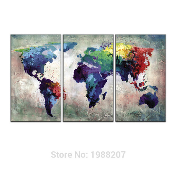 3 Panles Abstract Color Map Canvas Paintings World Map Pictures Prints On Canvas Wall Art For Home Decor Wooden Framed