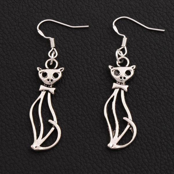 Orecchini slim Lady Cat Orecchini in argento 925 pesce gancio 40 paia / lotto Lampadario in argento antico 11x51mm E1162