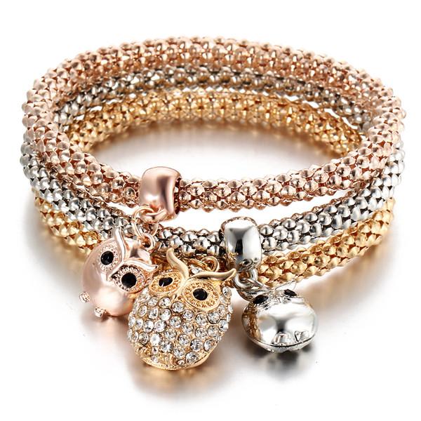 Eulen-Rhinestone-Kristallcharme-Armband 3Pcs in einem Setzt Armbänder 3 Farbe Schönheits-elastische Ketten-beiläufige Anhänger-Armbänder