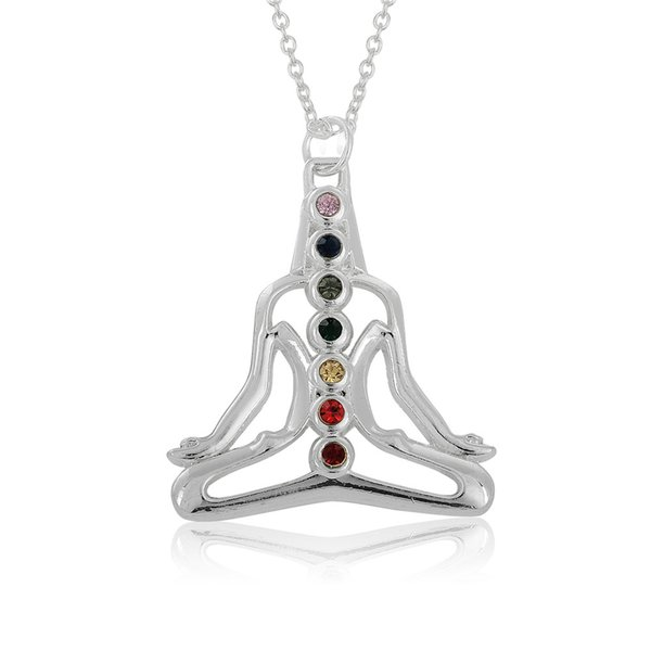 Fashion Unique Shiny Silver Plate Buddha round crystal Stone Embedded Buddhist Yoga Kong fu Style Pendant Necklace