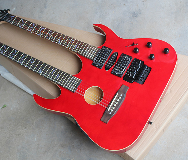 Hot Sale Factory Custom Red Double neck Guitar with a 6-String Guitar and 12-String Guitar,Black Hardware,Can be Changed