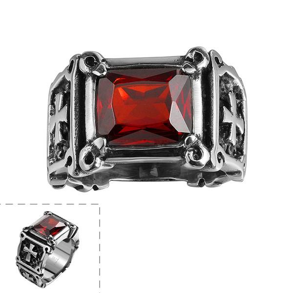 Anello retrò moda uomo croce intarsiato anello zircone rosso in acciaio inox stile punk anello in pietra di cristallo rosso per gli uomini migliori amici regali di compleanno