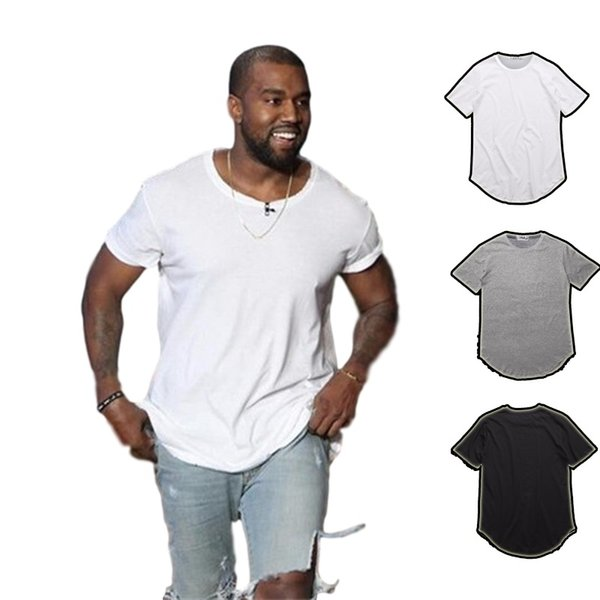 best selling men's T Shirt Kanye West Extended T-Shirt Men's clothing Curved Hem Long line Tops Tees Hip Hop Urban Blank Justin Bieber Shirts TX135-R3