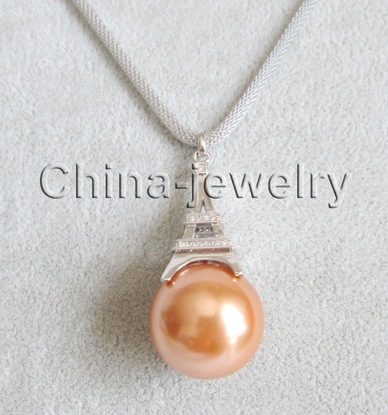 "P6972-20-22"" tower shape pendant + 20mm champagne south sea shell pearl necklace"