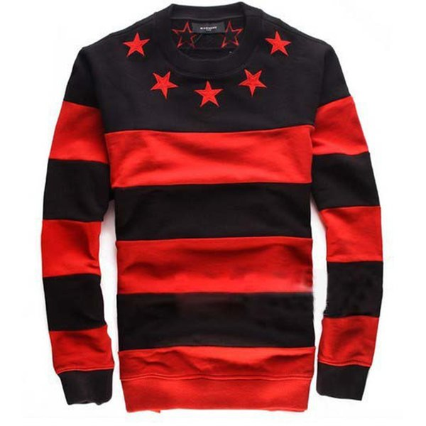 Wholesale- 2016 Autumn Fashion Black Red Strip Women Man Hoodie Star Embroideried Sweatshirt Men Casual Long Sleeve Tracksuit Free Shipping