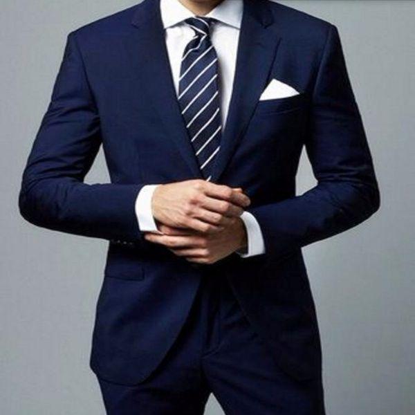 Custom Made Navy Blue Man Suit Simple Slim Fit Mens Wedding Prom Party Suits Groom Tuxedos Groomsman(Jacket+Pants)