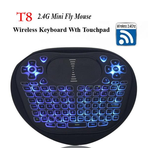 Retroilluminazione Mini tastiera wireless con touchpad 2.4G Fly Air Mouse Telecomando retroilluminato T8 per Android 7.1 Smart TV Box Xbox Gamepad I8