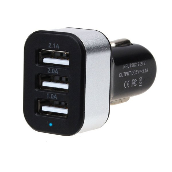 Wholesale- New Universal Vehicle 12V-24V 3Port USB(1A,2A,2.1A) DC Car Charger USB Power Adapter For Cellphone tablet PC Hgih Quanlity
