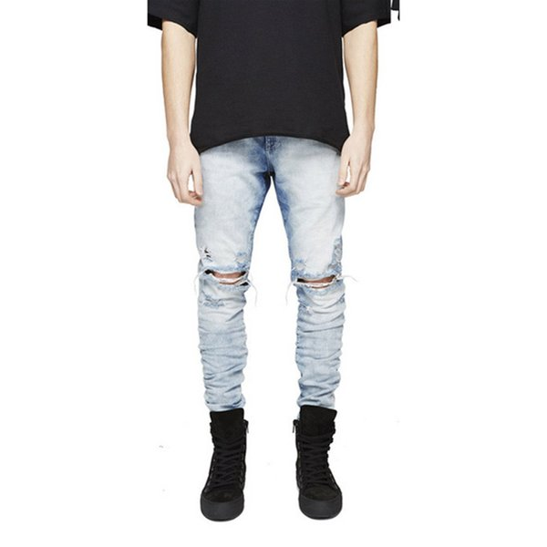 Wholesale-2016 New High Street Biker Jeans Swag Mens Designer Ripped Washed Vintage Destroyed Slim Fit Hipsters With Holes Denim pants