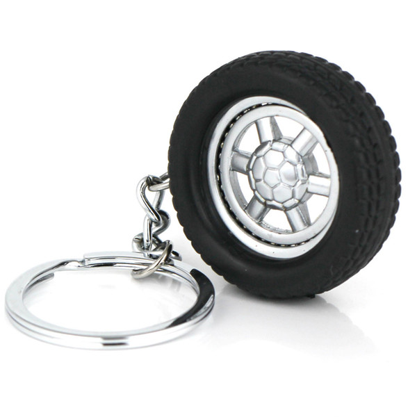 10pcs/Lot Tire Keychain Creative Auto Parts Model Spinning Rubber Wheel Tyre Key Chain Ring Keyring Keyfob 86023