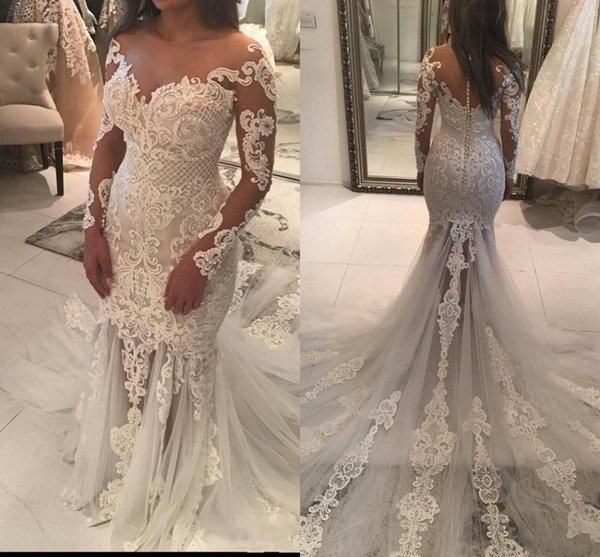 2017 Plus Size Mermaid Wedding Dresses Sheer Neckline Lace Appliques Beaded Illusion Long Sleeve See Through Tulle Long Train Bridal Gowns
