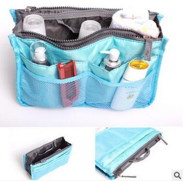 14 Colors Women Lady Travel Makeup bag Insert Handbag Purse Large liner Tote Organizer Dual Storage Amazing Zipper Make up bags