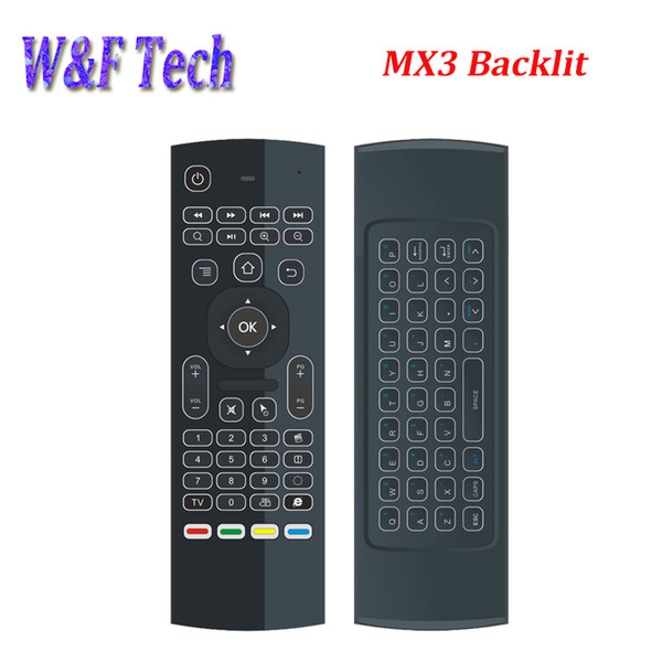 Mx3 backlight wirele keyboard with ir learning 2 4g wirele remote control fly air mou e backlit for mxq pro t95m x96 android tv box pc