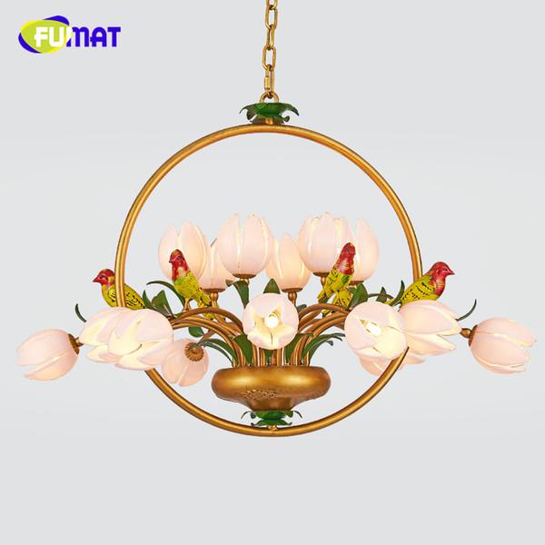 FUMAT Américain Style Pendentif Lumières Jardin Européen Salon Lit Chambre Lampe LED Floral abat-jour En Métal Oiseaux Pendentif Lumières