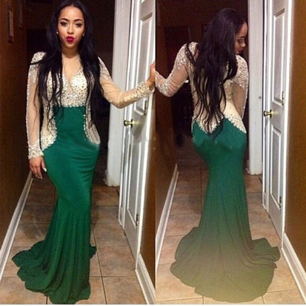 African Evening Gowns Beaded 2019 Robe De Soiree Sexy Party Dresses Green Long Sleeves Mermaid Evening Dresses Nigerian Luxury