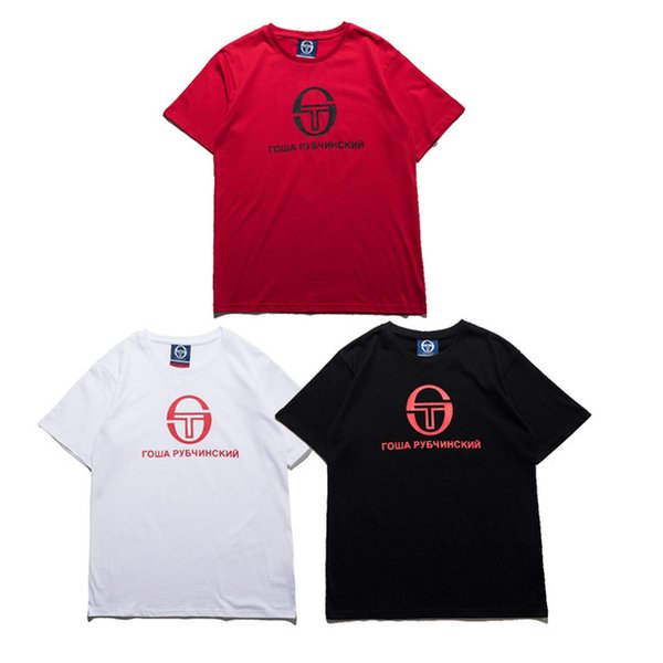 happy_weddings / Gosha Rubchinskiy T Shirt 2017SS Russia Men Women Brand Clothing Gosha T-shirts Hip Hop Streetwear Red Gosha Rubchinskiy t shirt
