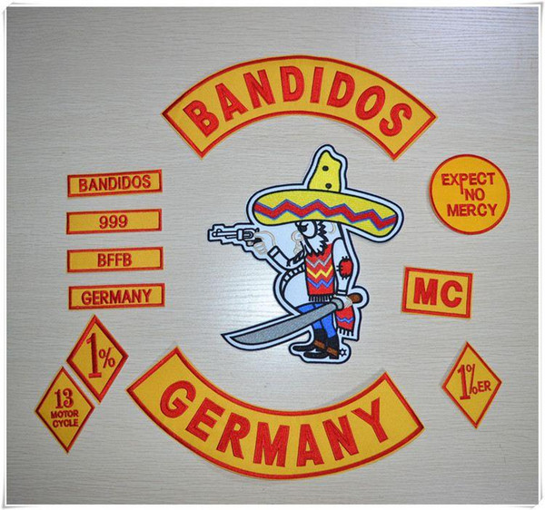 Motocycle Club Jacket Jeans BANDIDOS MC Embroidered Patches Jacket Iron On Patches Set 12pcs/Set Button GERMANY TEXAS WORLDWIDE