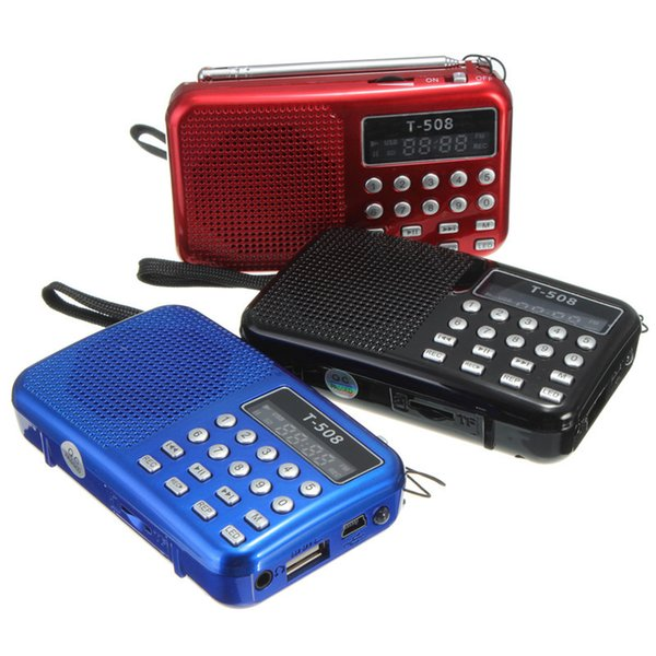 Wholesale-Mini Portable Rechargeable Digital LED display panel Stereo FM Radio Speaker USB TF mirco for SD Card MP3 Music Player