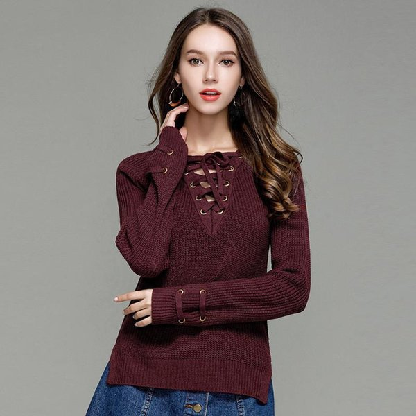 b5299776e2 Oversize Women Sweaters/Pullovers Slim Long Sleeve Knitted Jumper Femme  Sexy Tops Ladies Sweaters Knitwear Clothing For Female